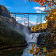 Tressel Over The High Falls Art Print by Dick Wood