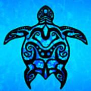 Tribal Turtle Hibiscus Art Print