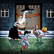 Trick Or Treat Time For Little Ducks Art Print