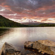 Trillium Lake Sunset Art Print