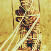 Trojan Horse Wooden Toy Being Pulled By Ropes Art Print