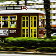 Trolley Car In Motion, New Orleans, Louisiana Art Print