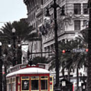 Trolley On Bourbon And Canal  Art Print