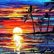 Tropical Fiesta - Palette Knife Oil Painting On Canvas By Leonid Afremov Art Print