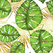 Tropical Haze Green Monstera Leaves And Golden Palm Fronds Art Print