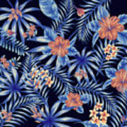 Tropical Leaf Pattern 4 Art Print