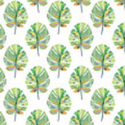 Tropical Leaves On White- Art By Linda Woods Art Print