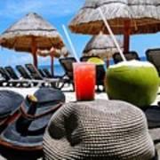 Tropical Paradise Sun, Sand, Beach And Drinks. Art Print