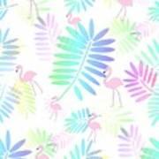Tropical Pink Flamingos Art Print