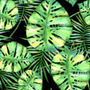 Tropics Noir, Tropical Monstera And Palm Leaves At Night Art Print
