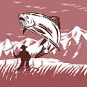 Trout Jumping Fisherman Art Print
