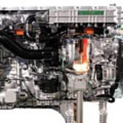 Truck Diesel Engine Isolated On White  Art Print