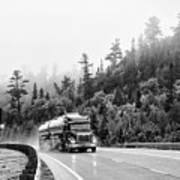 Truck On Foggy Highway Art Print