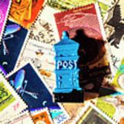True Blue Postbox Art Print