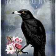 True North Crow And Magnolias Art Print