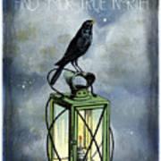 True North Crow Sits On The Night Lantern Art Print