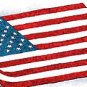 Trump Sweeps Under The Flag Rug Art Print