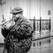 Trumpet In The Rain 2 - Nola Art Print