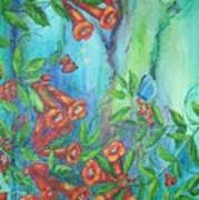 Trumpet Vine With Butterfly Art Print