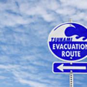 Tsunami Evacuation Route Sign Art Print