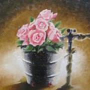 Tub Of Roses Art Print