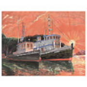 Tug Boats Anchored In Red Sky Art Print