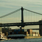 Tugboat Pulling A Barge On The East Art Print