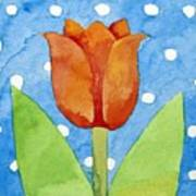 Tulip Blue White Spot Background Art Print