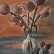 Tulip Flowers Bouquet In Two Round Water Filled Small Globe Shaped Vases On A Table Still Life Of Bo Art Print