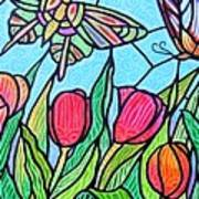 Tulips And Butterflies Art Print