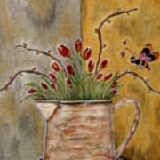 Tulips And The Lovely Bee Art Print
