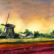 Tulips And Windmill From The Netherlands Art Print