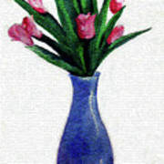 Tulips In A Tall Vase Art Print