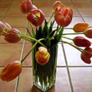 Tulips In A Vase On Tile Art Print