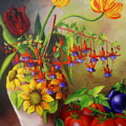 Tulips In A Vase With Some Tomatoes Art Print