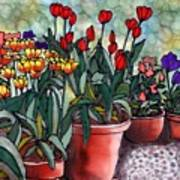 Tulips In Clay Pots Print by Linda Marcille