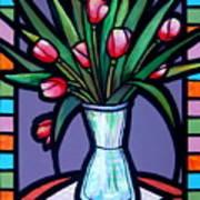 Tulips In Glass Vase Art Print