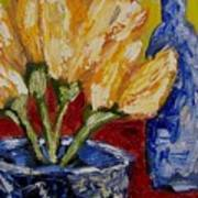 Tulips With Blue Bottle Art Print