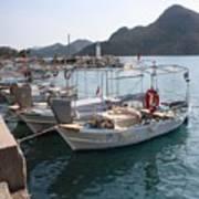 Turkish Fishing Boats Moored At Bozburun Art Print