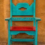 Turquoise And Red Chair Art Print
