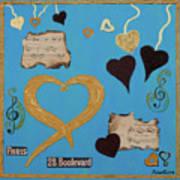 Turquoise Boutique Hearts Art Print