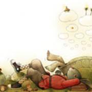 Turtle and Rabbit06 Art Print