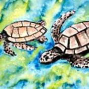 Turtle Love Pair Of Sea Turtles Art Print