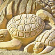 Turtle Sand Castle Sculpture On The Beach 999 Art Print