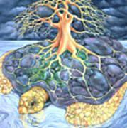 Turtle Tree Mandala Art Print