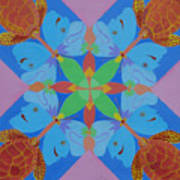 Turtles And Butterfly People Art Print