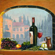 Tuscan Arch Wine Grape Feast Art Print by Italian Art