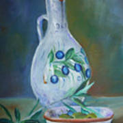 Tuscan Elements - Olive Oil With Olives Art Print