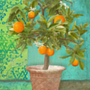 Tuscan Orange Topiary - Damask Pattern 2 Art Print
