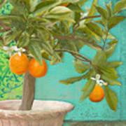 Tuscan Orange Topiary - Damask Pattern 3 Art Print